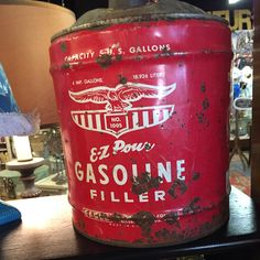 Vintage metal 5 gallon gas can Vintage Metal, Coffee Cans, Canning, Food, Meal, Eten, Meals, Conservation