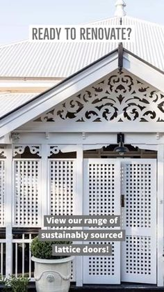 Lattice doors are perfect for verandahs. These classic Queenslander doors provide privacy and security, while also allowing the breeze enter and circulate around the home and verandah. Building Aesthetic, Mobile Home Makeovers, House Cladding, Queenslander, Farmhouse Homes, Home Reno, Outdoor Areas, My Dream Home, My House
