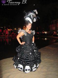Black and white balloon dresses