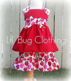 Strawberry Jumper Top and Shorts Pageant Wear Fruit Outfit Strawberry Shortcake Party, Strawberry Fruit, Strawberries, My Baby Girl, Girly Girl, Little Girl Birthday, 2nd Birthday, Birthday Ideas, Bug Clothing