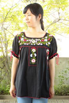 Mexican embroidery tops blouse of rope ribbon