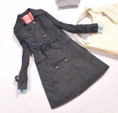 korean wholesale windbreaker jacket office lady y460-2 black  - $18.45