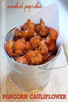 "REID NOTES: may try regular paprika. smoked paprika ""popcorn"" cauliflower, the perfect healthy snack! Paprika Recipes, Kosher Recipes, Cooking Recipes, Skinny Recipes, Vegan Recipes, Cauliflower Recipes, Cauliflower Popcorn, Cauliflower Burger, Vegan Cauliflower"