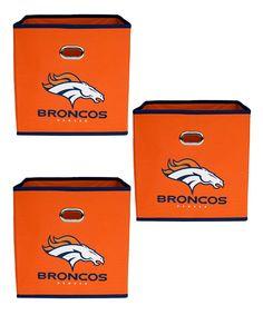 MyOwnersBox Denver Broncos Fabric Storage Bin - Set of Three Denver Broncos Football, Fabric Storage Bins, Memory Foam, Toddler Girl, Calves, Pink Zebra, Hot Pink, Infant, Girls