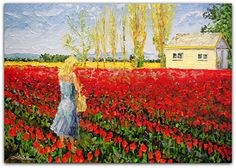 "Tulip Fields 38"" x 54"" Palette Knife Oil"
