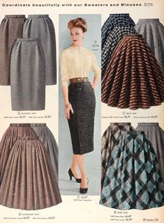 Variety in plaid and tweed skirts: Slim, circular, gathered or unpressed pleats. 1957 Tuppence Ha'penny: {Style Inspiration} The News in Tartan & Tweed 50s wool brown blue plaids | 1950s vintage skirts 50s