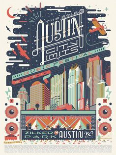Vintage-style Austin City Limits poster by Anderson Design Group. I'm mostly impressed with the type in this poster, has a western feel, I like the contrasting thick and thin strokes of the letterforms. Musikfestival Poster, Poster Layout, Design Poster, Design Art, Print Design, Poster City, Poster Designs, Illustration Design Graphique, Promotional Design