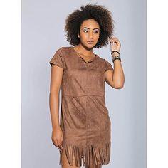 Vestido com Franja Feminino Desmond - Marrom