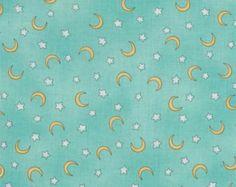 Sweet Pea night fabric turquoise sky yellow moon white stars - Studio E - YARD