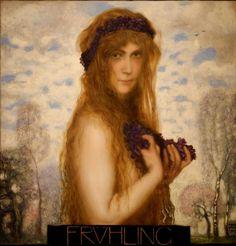 Franz Von Stuck (February 23, 1863 – August 30, 1928) was a Germanpainter,sculptor,engraver, andarchitect. Title: Spring