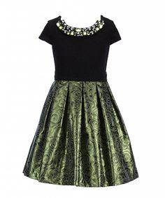 Bonnie Jean partydress brocade green