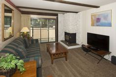 Where To Stay: This first floor, one bedroom condominium has a fully equipped kitchen, balcony, and fireplace (wood provided at the complex). The bedroom has a king bed and the living room has a sofa sleeper.