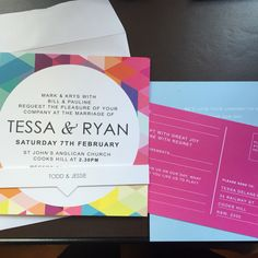 Colourful Wedding invites