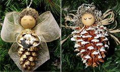 idées de décoration de Noël anges-cônes-rubans