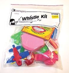 Whistle Kit by Therapro. $21.12. The whistles in this collection are colorful and sturdy. Most feature moving parts as well as noise-makers to stimulate both ocular and oral motor skills. Includes nine whistles. Respiratory demand ranges from easy to difficult. Substitutions may be made as needed.