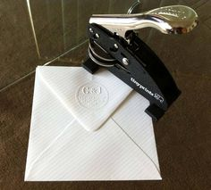 Custom embosser from Tiny Prints. Very cool way of adding your sender address details to your invitation envelope. Wedding Stationery, Wedding Invitations, Invites, Custom Embosser, Tiny Prints, Invitation Envelopes, Can Opener, Our Wedding, Wedding Inspiration