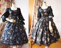PUNK Dress  Flora Print Swing Dress  Gothic Skirt  by YUYUSTUDIO, €98.00 Punk Dress, Gothic Dress, Flora Print, Swing Dress, Dress Making, Custom Made, Trending Outfits, Skirts, Steampunk