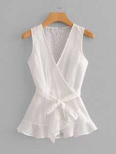 SheIn offers Eyelet Embroidered Wrap Blouse & more to fit your fashionable needs. Blouse And Skirt, Wrap Blouse, Blouse Styles, Blouse Designs, Casual Skirt Outfits, Blouse Online, Mode Inspiration, Ladies Dress Design, Dress Patterns