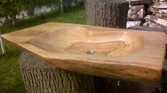 Oak hand made sink. Solid wood