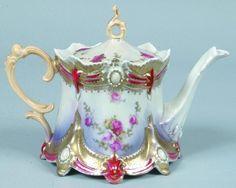 "RS Prussia Tea Pot, 4.25""h. x 5""d.; Mold 645, ribbon and jewel, pink ..."
