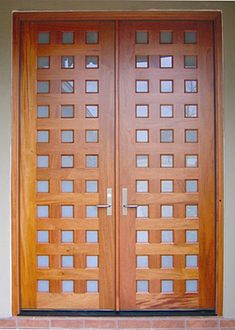 """DbyD-5001. This pair of 33 lite Custom Contemporary Front Entry Doors were designed by Doors By Decora for the Front Entryway of a home in Montgomery, Alabama. These Mahogany Exterior Doors are 36"""" X 96"""" and have insulated frosted tempered glass to provide energy efficiency and privacy."""