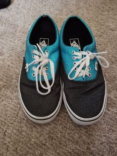 0a69187463eb VANS Unisex Black Blue Sparkely womens size 9.5 men s 8 shoes  fashion   clothing