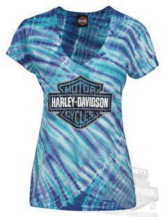 Harley-Davidson® Womens Electric Rainbow B&S V-Neck Tie-Dyed Short Sleeve T-Shirt