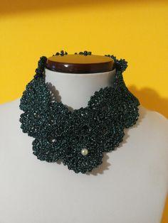 Girocollo in cotone lurex color ottano con perla