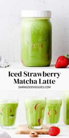 Iced Strawberry Matcha Latte recipe is infused with berry flavor, sweetened with honey, made with dairy free milk and full of lasting non-jittery green tea energy! Drinks Alcohol Recipes, Drink Recipes, Real Food Recipes, Strawberry Infused Water, Matcha Latte Recipe, Matcha Drink, Dairy Free Milk, Vegan Breakfast Recipes, Dairy Free Recipes