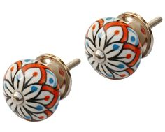 "Ethnic Touches - #Handmade #Set Of 2 Round 1 1/4"" #Knobs / #Pulls In Ceramic - #Decorative Handles"