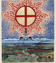"""This painting was done by Carl Jung (some say after he had a """"near death"""" experience.) The """"energy figure"""" appears over his birth country and city """"Geneva, Switzerland."""" The location of the CERN LHC Collider! Was it a warning?"""