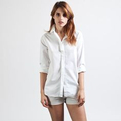 Everlane - The Poplin Long-Sleeve Collar White $55 | https://www.everlane.com/collections/womens-poplin/products/womens-poplin-ls-white