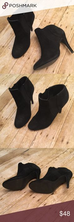 Steve Madden Arbor Booties Steve Madden amazing suede booties with sheer panel at side of shoe. Worn a handful of times, in great condition. Size is 8 and 1/2. 🚫NO TRADES🚫 Steve Madden Shoes Ankle Boots & Booties