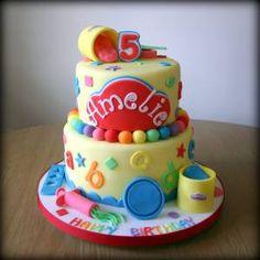 play-doh birthday cake - Google Search Crayon Birthday Parties, Combined Birthday Parties, Birthday Fun, Fondant Cakes, Cupcake Cakes, Play Doh Party, Twin Birthday Cakes, Homemade Fondant, Second Birthday Ideas