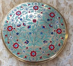 "Beautiful, Large, Enamel & Brass Compact. Signed: Volupte USA. Measures: 4"" in diameter. Condition: Lovely! One minute dark spot on underside. Could possibly be rubbed out. Certainly does not distract."