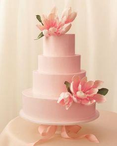 Pale pink magnolia blossom cake by Wendy Kromer of Wendy Kromer Confections. Via Martha Stewart Weddings.