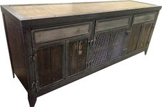 Industrial Console/Cabinet with Drawers and Hidden Compartment.
