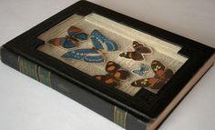 Shadow box made from an old book--cut it out, add picture frame glass