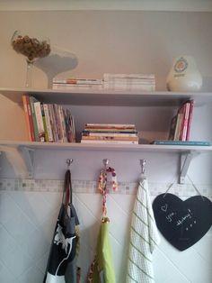 Kitchen shelf - after - recipe book storage