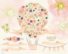 Watercolor hot air balloon pastel flowers, roses, anemone, peony, wedding flowers, bouquet florals, floral clip art, vintage diy invitation