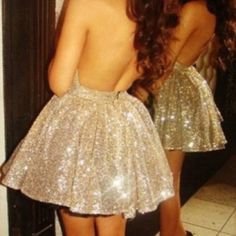 Gold sequin halter skater mini dress Super cute, eye-catching sequin skater dress Dresses Mini