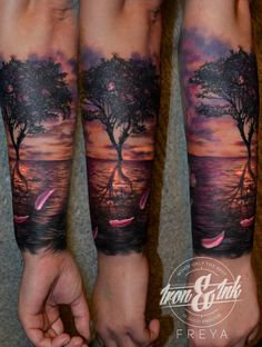 Sunset tattoo realism