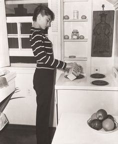 Audrey in the kitchen of her apartment, Manhattan, NY, 1954