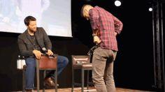 JIBCon 8 2017 Jensen showing Misha presumably his Ethika underwear. Misha was finding it awkward
