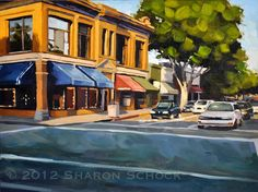 Cityscape Painting Golden Storefronts San Luis от sharonschock