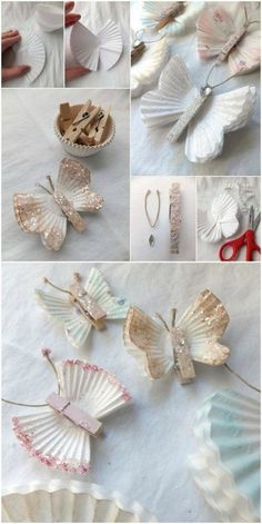 Paper butterflies DIY step by step {video - DIY Papier - Baby Board Paper Flower Garlands, Paper Flowers, Diy 2019, Diy And Crafts, Crafts For Kids, Papier Diy, Diy Y Manualidades, Diy Step By Step, Diy Christmas Decorations Easy