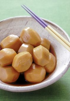Satoimo No Nikorogasi - simmered and rolled saitamo (taro) is a classic Japanese dish.