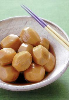 Satoimo No Nikorogasi - simmered and rolled saitamo (taro) is a classic Japanese dish.