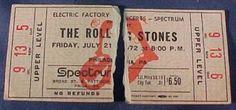 1972 Rolling Stones Philadlephia ticket stub 435