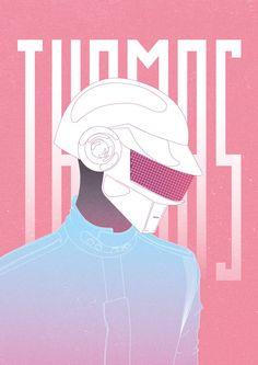 Daft Punk - Thomas Bangalter By :mohamed abou hashish Daft Punk Poster, Thomas Bangalter, Punk Tattoo, British Punk, Guitar Art, Post Punk, My Favorite Music, Best Artist, Graffiti Art